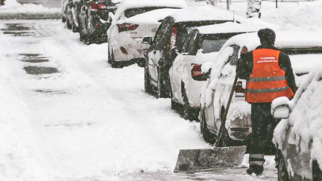 Cars parked on street during snowfall.