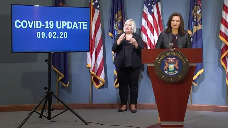 Michigan Gov. Gretchen Whitmer at her Sept. 2, 2020, coronavirus (COVID-19) press briefing.