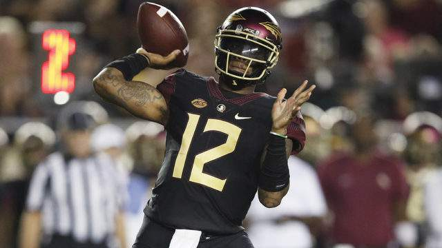 Deondre Francois #12 of the Florida State Seminoles throws a pass in the first quarter of the game against the Virginia Tech Hokies at Doak Campbell Stadium on September 3, 2018 in Tallahassee, Florida. (Photo by Joe Robbins/Getty Images)