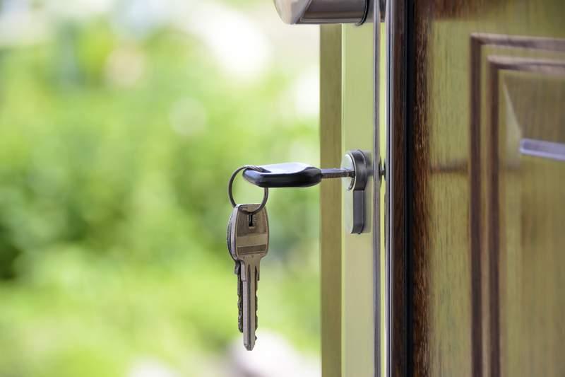 Keys in a door.