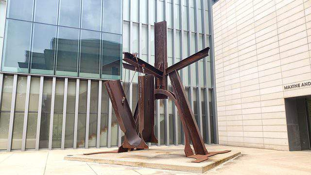 """Mark di Suvero's sculpture """"Shang"""" stands tall outside of the UMMA. Photo   Sarah M. Parlette"""