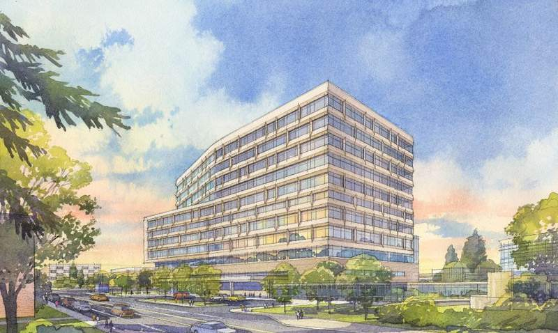Architectural rendering of the new inpatient hospital on Michigan Medicine's Ann Arbor campus.