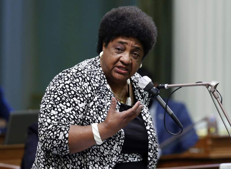 FILE - In this June 10, 2020, file photo, Assemblywoman Shirley Weber, D-San Diego, calls on members of the Assembly to approve a measure at the Capitol in Sacramento, Calif. Weber, was named on Tuesday, Dec. 22, 2020, by picked Gov. Gavin Newsom to be Caliofornia Secretary of State. She will be the first Black woman to hold the post and comes to the job with a special understanding about the right to vote. (AP Photo/Rich Pedroncelli, File