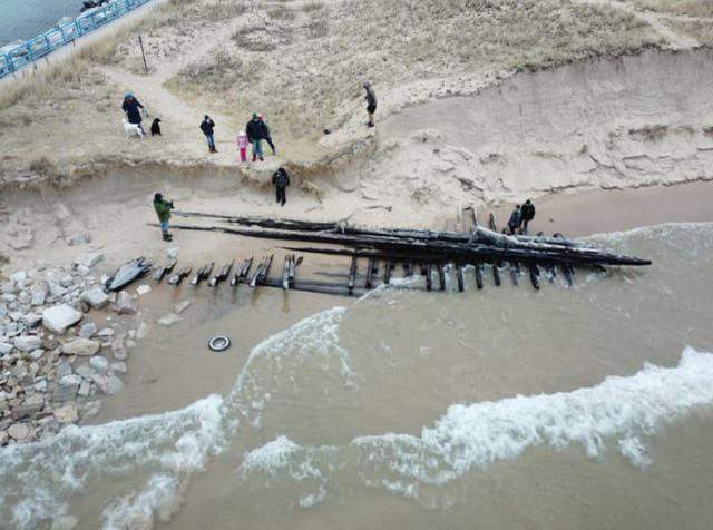 Drone Image of the White Lake Wreck by Kevin Ailes (Michigan Shipwrecks Research Association)