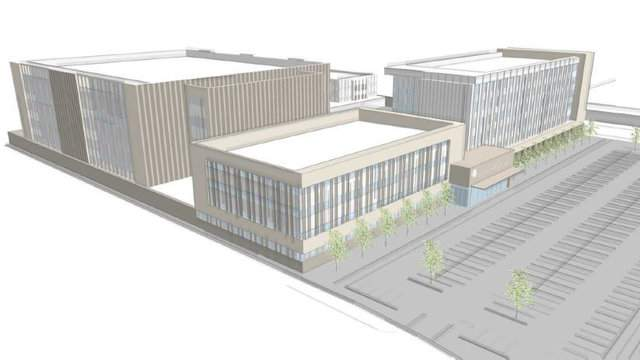 Rock Ventures proposal for new Wayne County Criminal Justice Center. This would be built at the DDOT property at I-75 and East Warren Avenue.