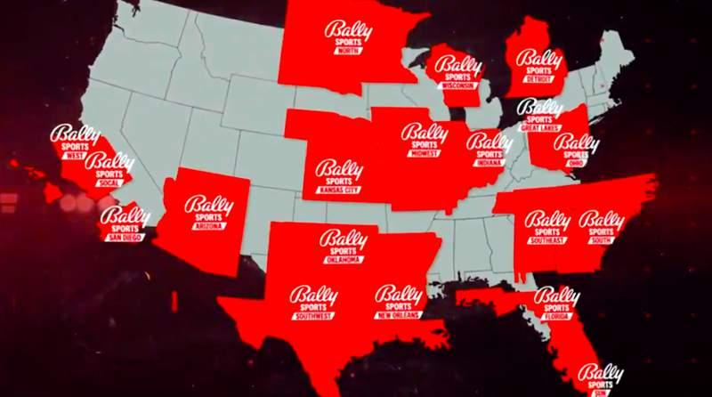 Bally Sports regional network locations.