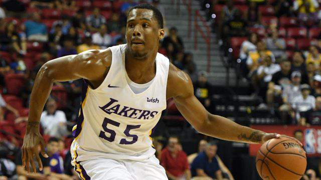 LAS VEGAS, NV - JULY 15: Nick King #55 of the Los Angeles Lakers handles the ball against the Detroit Pistons during a quarterfinal game of the 2018 NBA Summer League at the Thomas & Mack Center on July 15, 2018 in Las Vegas, Nevada. The Lakers defeated the Pistons 101-78.  (Photo by Ethan Miller/Getty Images)