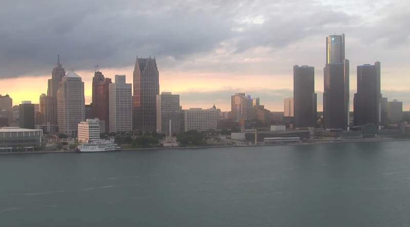 View of Detroit from the Windsor sky camera on June 12, 2020 at 8:29 p.m.