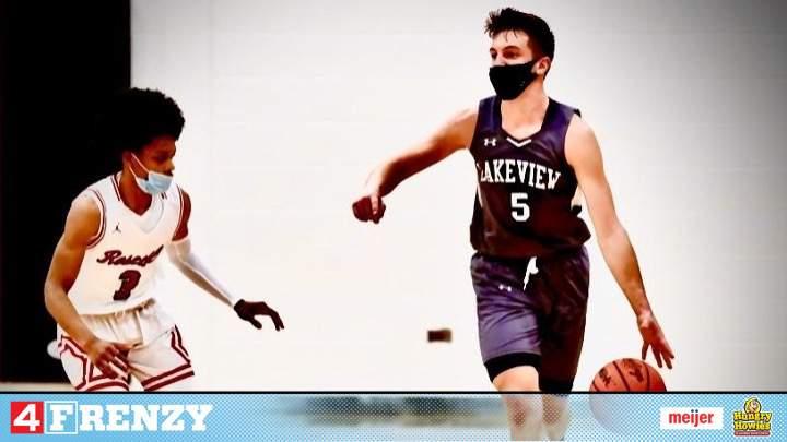 Lakeview HS Senior, Lucas Shock, dribbles down the court