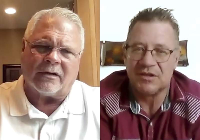 This combination of photos taken from a video conference meeting shows county sheriff Brian Roy of Benton, of Kentucky, left, and Brian Webb, of Sheridan, Wyo. as they discuss various political views. They were participants in an effort backed by the media company Gannett to get people with opposing political views to talk with each other, part of a National Week of Conversation sponsored by democracy-oriented groups that is ending this weekend. (Gannett via AP)