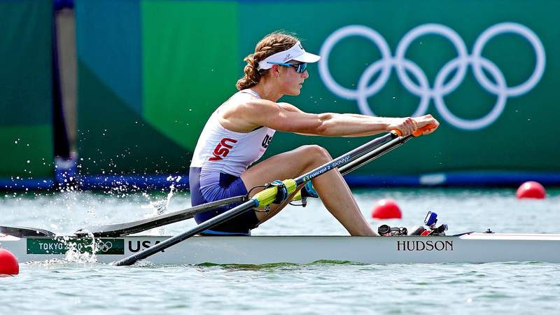 Jul 23, 2021; Tokyo, Japan; Kara Kohler (USA) competes in the Women's Single Sculls Heats during the Tokyo 2020 Olympic Summer Games at Sea Forest Waterway. Mandatory Credit: Andrew Nelles-USA TODAY Network