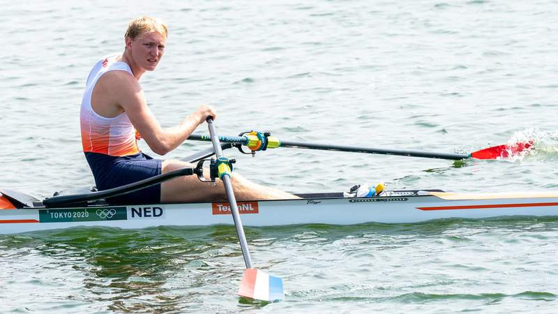 Finn Florijn of the Netherlands competing on Men's Single Sculls Heat 6 during the Tokyo 2020 Olympic Games at the Sea Forest Waterway on July 23, 2021 in Tokyo, Japan.