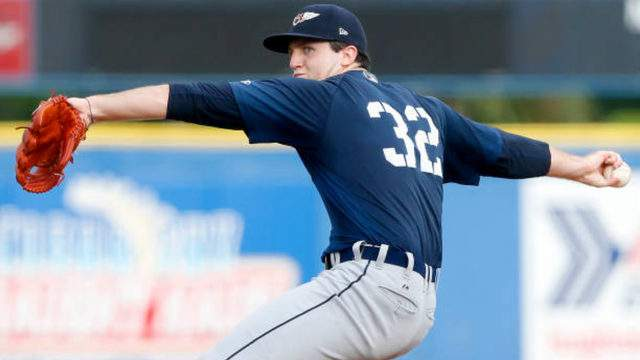 First overall MLB draft pick Casey Mize of the Lakeland Flying Tigers delivers a pitch during a Florida State League game between against the Dunedin Blue Jays on July 31, 2018, at Florida Auto Exchange Stadium in Dunedin, Florida. (Cliff Welch/Icon Sportswire via Getty Images)