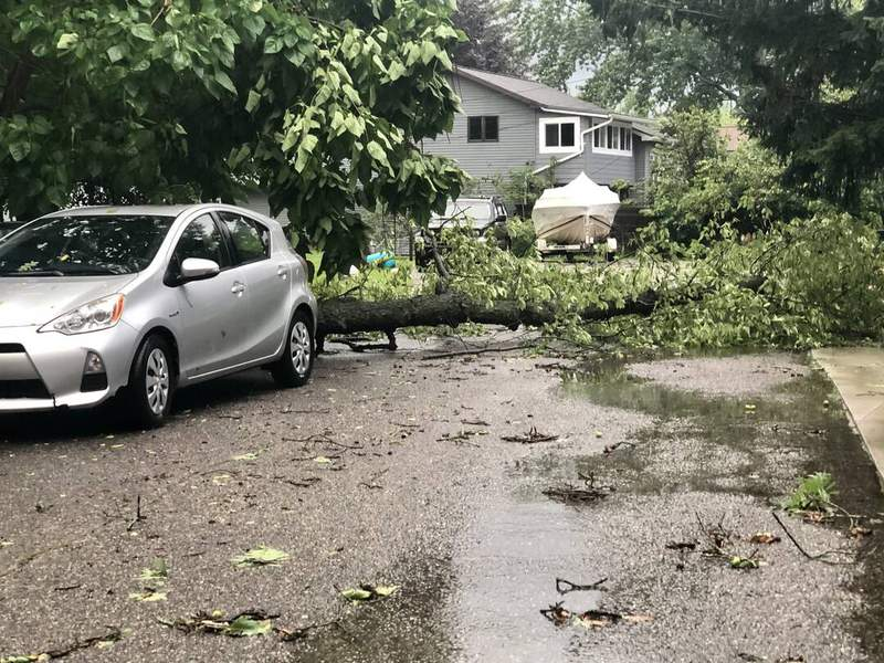 Storm Damage in Waterford, Mich. on July 25, 2021.