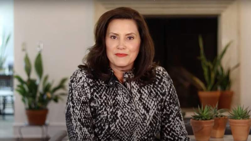 Michigan Gov. Gretchen Whitmer during a sit-down conversation with Dr. Joneigh Khaldun and Chief Legal Counsel Mark Totten on Sept. 22, 2020, to discussion the coronavirus (COVID-19).