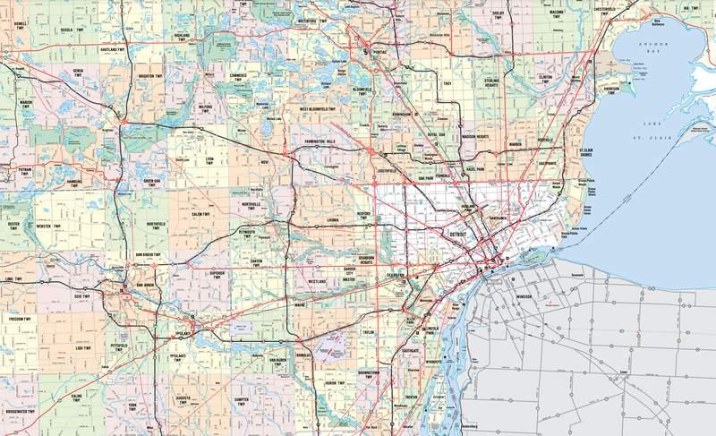 Metro Detroit map