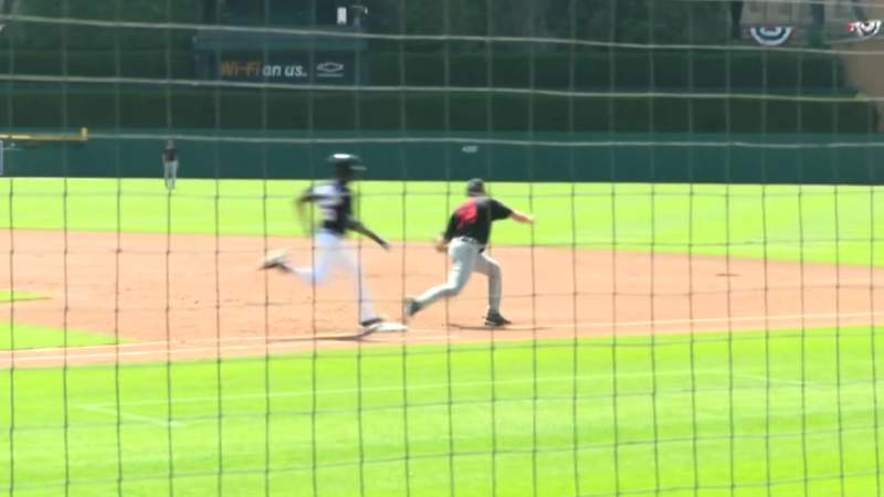 Casey Mize retires Jeimer Candelario on ground ball during Tigers intrasquad game