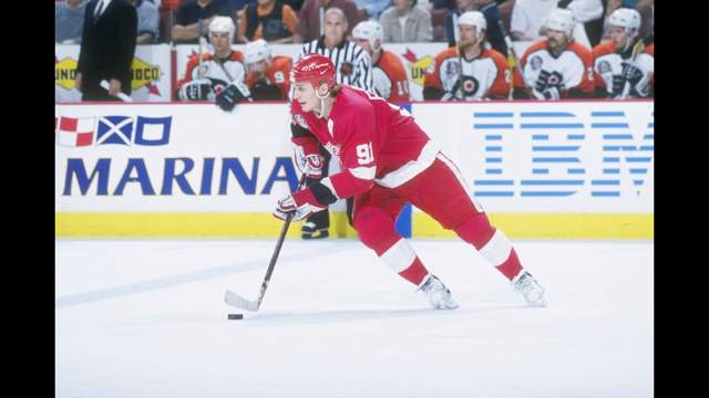 Sergei Fedorov during Game 1 of the Stanley Cup Finals against the Philadelphia Flyers at the CoreStates Center on May 31, 1997 in Philadelphia, Pennsylvania. The Red Wings won the game, 4-2.