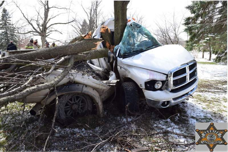 The scene of a fatal April 1, 2021, crash on Haines Road in Lapeer.