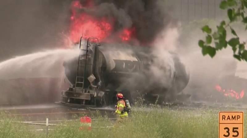 Firefighters battle tanker truck fire on I-75 near Big Beaver Road
