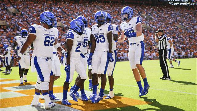 Cornelius McCoy #83 of the Georgia State Panthers celebrates in the end-zone with his teammates after scoring a touchdown against the Tennessee Volunteers during the second quarter of the season opener at Neyland Stadium on August 31, 2019 in Knoxville, Tennessee. (Photo by Silas Walker/Getty Images)