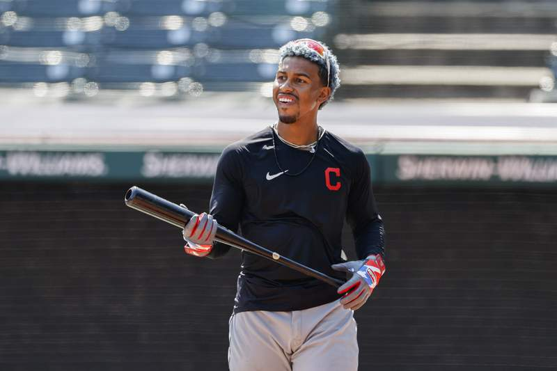Cleveland Indians' Francisco Lindor prepares to bat during baseball practice at Progressive Field, Monday, July 6, 2020, in Cleveland. (AP Photo/Ron Schwane)