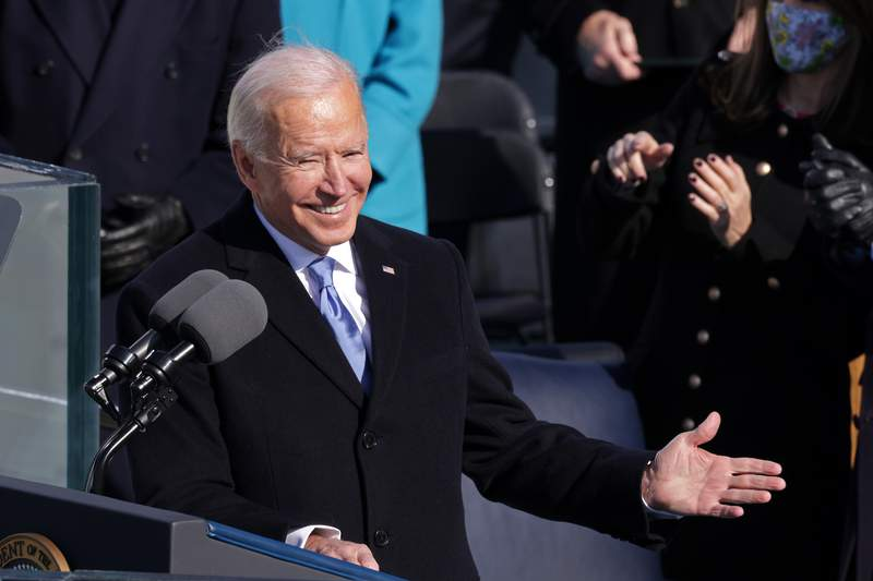 U.S. President Joe Biden delivers his inaugural address on the West Front of the U.S. Capitol on January 20, 2021 in Washington, DC. (Photo by Alex Wong/Getty Images)