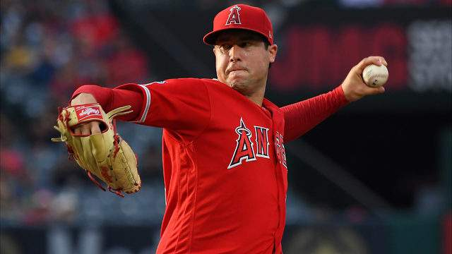 Tyler Skaggs of the Los Angeles Angels pitches against the Oakland Athletics at Angel Stadium of Anaheim on June 29, 2019, in Anaheim, California. (Jayne Kamin-Oncea/Getty Images)