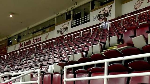 Seats inside Joe Louis Arena after it closed in 2017. (WDIV)