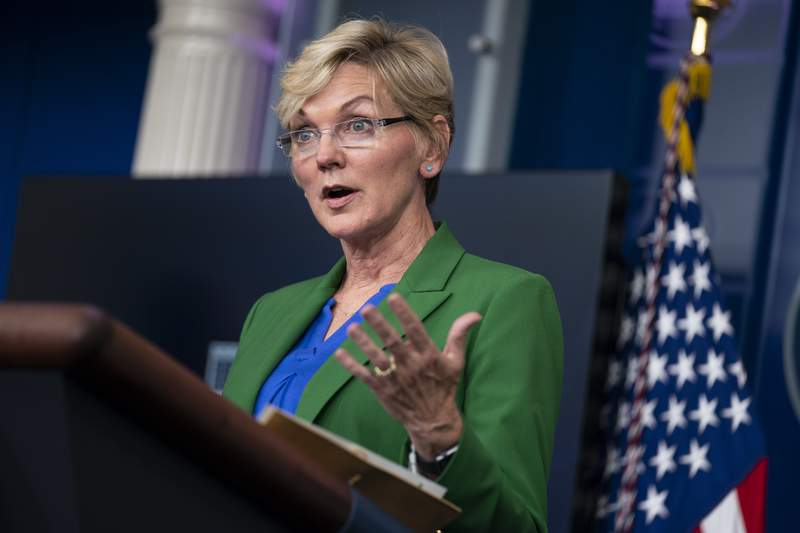 Energy Secretary Jennifer Granholm speaks during a press briefing at the White House, Tuesday, May 11, 2021, in Washington. (AP Photo/Evan Vucci)
