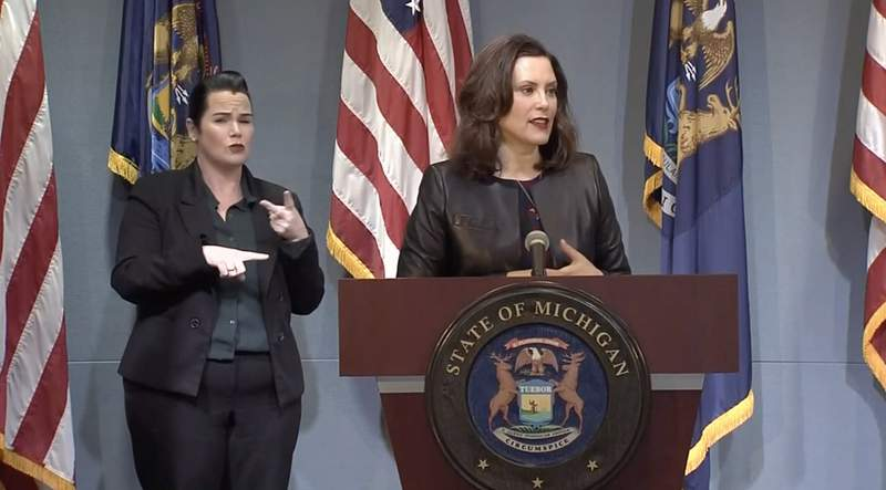 Gov. Gretchen Whitmer during briefing on May 1, 2020.