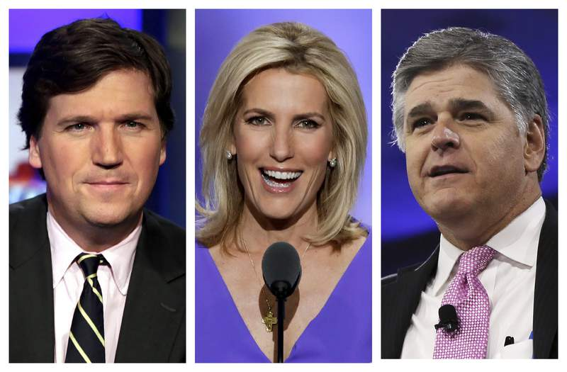 """FILE - This combination of photo shows, from left, Tucker Carlson, host of """"Tucker Carlson Tonight,"""" Laura Ingraham, host of """"The Ingraham Angle,"""" and Sean Hannity, host of """"Hannity"""" on Fox News. Brian Stelter, who wrote Hoax: Donald Trump, Fox News, and the Dangerous Distortion of Truth, says several people at Fox privately expressed worry to him about the growing power of prime-time opinion hosts Carlson, Hannity and Ingraham at the expense of Fox's news operation. (AP Photo)"""