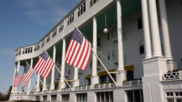The Grand Hotel on Mackinac Island was voted the No. 1 historic hotel in the United States on Aug. 18, 2017. (Jeffrey Greenberg/UIG via Getty Images)
