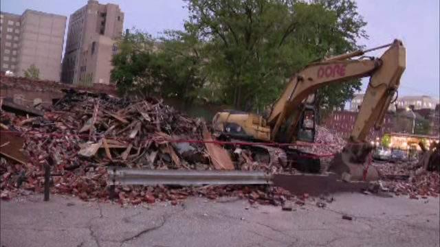 Gold Dollar Bar in Detroit demolished after fire. Aug. 12, 2019. (WDIV)