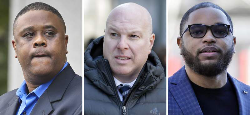 FILE  This file combo of images shows, from left, amateur basketball league director Merl Code, former Adidas executive James Gatto, and business manager Christian Dawkins. A federal appeals court in New York, Friday, Jan. 15, 2020, upheld convictions Code, Gatto and Dawkins in a college basketball scandal that spoiled the careers of several coaches. (AP Photo/File)