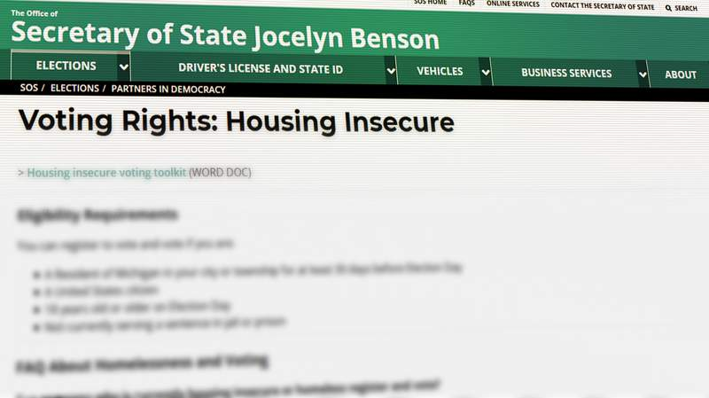 The Michigan Department of State is providing voting resources for housing insecure or homeless residents.