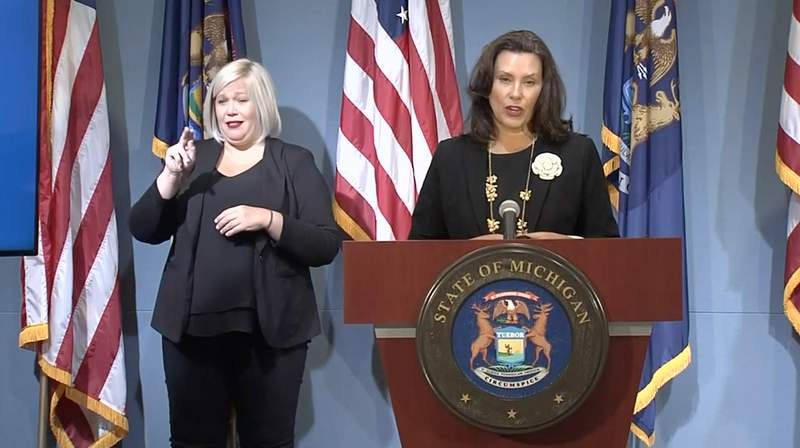 Michigan Gov. Gretchen Whitmer speaks at a news conference Aug. 25, 2020.