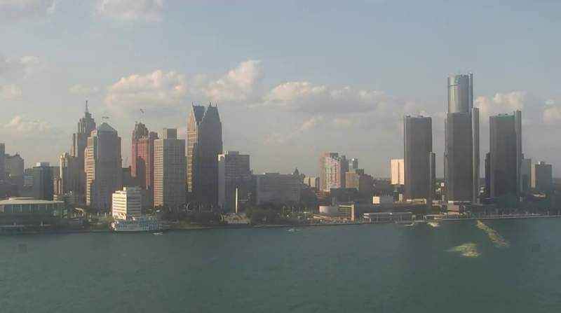 View of Detroit from the Windsor sky camera on Aug. 23, 2020 at 6:28 p.m.