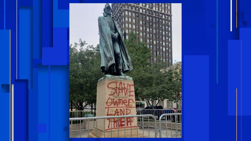 The Detroit statue was found vandalized as racial unrest continues across the country.