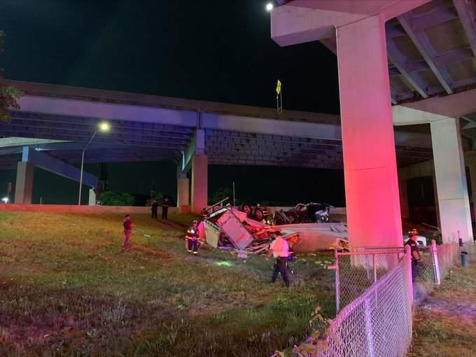 Semi truck falls off overpass in Grand Rapids. (MSP)