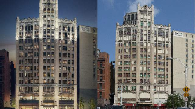 Metropolitan Building in Downtown Detroit. Left is a rendering of redevelopment. Right is a photo from 2010.