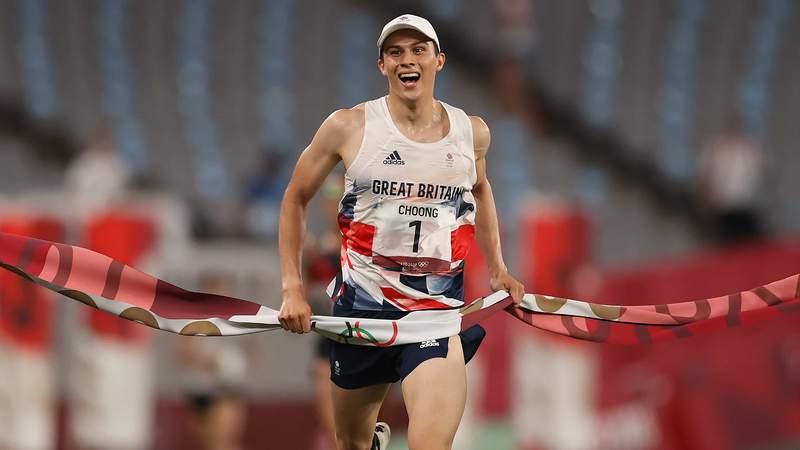 British pentathlete Joseph Choong celebrates as he crosses the finish line for gold.