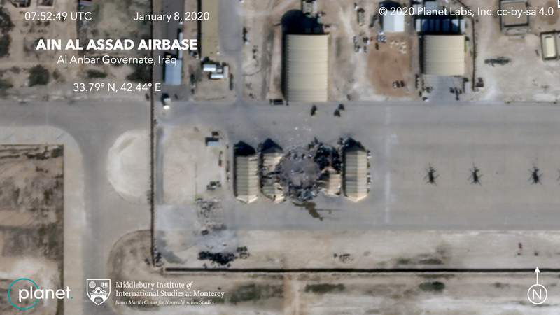 This satellite image provided on Wednesday, Jan. 8, 2020, by Middlebury Institute of International Studies and Planet Labs Inc. shows the damage caused from an Iranian missile strike at the Ain al-Asad air base in Iraq. Iran's actions were in response to the U.S. killing of Revolutionary Guard Gen. Qassem Soleimani. (Planet Labs Inc./Middlebury Institute of International Studies via AP)