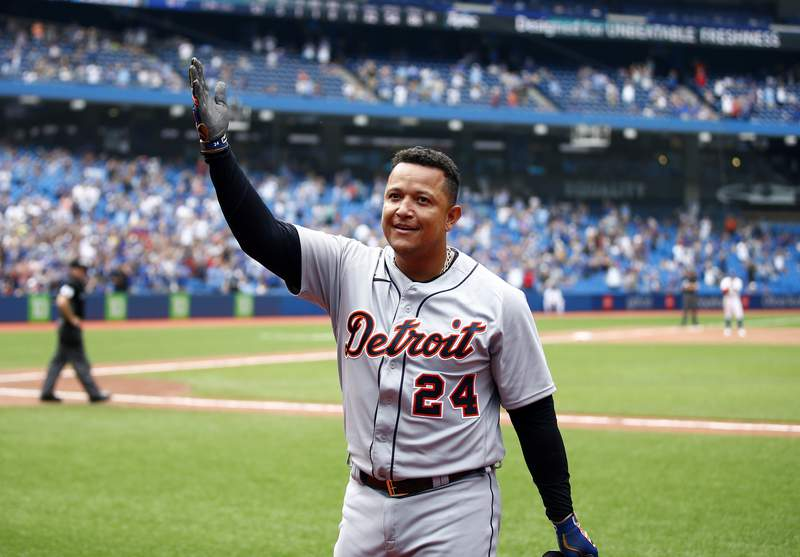 Miguel Cabrera #24 of the Detroit Tigers celebrates after hitting his 500th career home run in the sixth inning during a MLB game against the Toronto Blue Jays at Rogers Centre on August 22, 2021 in Toronto, Ontario, Canada.