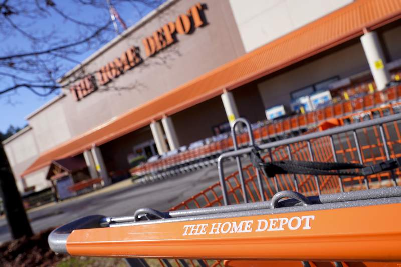 Shopping carts are lined up at The Home Depot store on Monday, Feb. 22, 2021, in Cornelius, N.C. The Home Depots fiscal fourth-quarter sales surged 25% as the home improvement chain continues to meet the demands of consumers stuck at home and a resilient housing market.  (AP Photo/Chris Carlson)