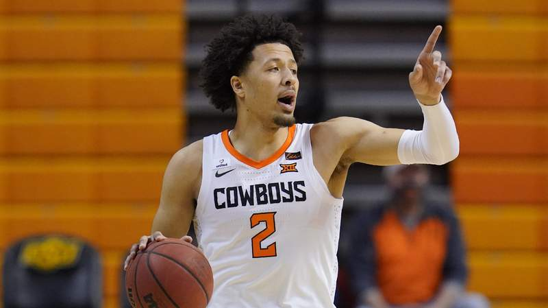 Oklahoma State guard Cade Cunningham (2) during of an NCAA college basketball game against Kansas State, Saturday, Feb. 13, 2021, in Stillwater, Okla. (AP Photo/Sue Ogrocki)