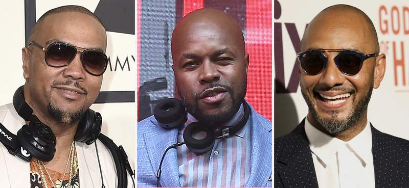 """In this combination photo, Timbaland, from left, arrives at the 58th annual Grammy Awards on Feb. 15, 2016, in Los Angeles, DJ D-Nice attends the 13th annual Apollo Theater Spring Gala After Party in New York and Swizz Beatz attends a special screening of """"Godfather of Harlem"""" on Sept. 16, 2019, in New York. The performing rights organization ASCAP announced Tuesday that Timbaland, Swizz Beatz and D-Nice will receive the ASCAP Voice of the Culture Award  a thank you for creating the uber-popular virtual events """"Verzuz"""" and """"Club Quarantine,"""" which became cultural and groundbreaking affairs celebrating music and community during the pandemic. (AP Photo)"""