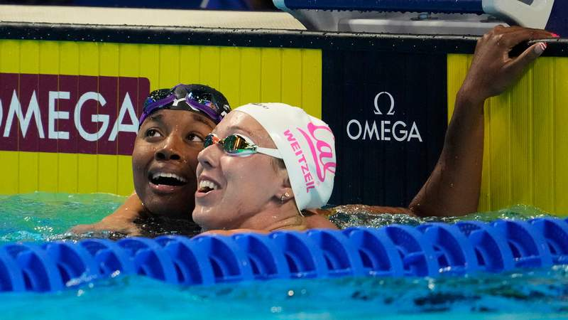 Simone Manuel won the 50-meter freestyle Sunday night at Olympic Trials, .01 seconds ahead of Abbey Weitzeil.