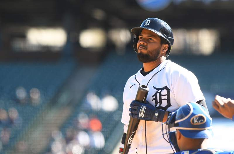 Jeimer Candelario #46 of the Detroit Tigers looks on while batting during the game against the Kansas City Royals at Comerica Park on April 25, 2021 in Detroit, Michigan. The Royals defeated the Tigers 4-0.