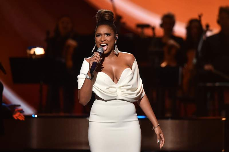 """LOS ANGELES, CA - JANUARY 13:  Jennifer Hudson performs onstage at All-Star Lineup Pays Tribute At """"Aretha! A GRAMMYCelebration For The Queen Of Soul at The Shrine Auditorium on January 13, 2019 in Los Angeles, California.  (Photo by Alberto E. Rodriguez/Getty Images for NARAS)"""